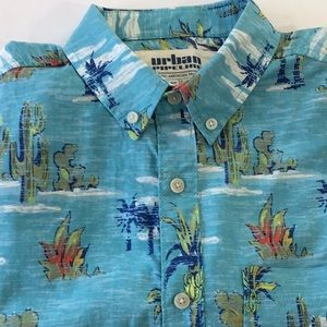 Palm & Cactus Cotton Button down short sleeves